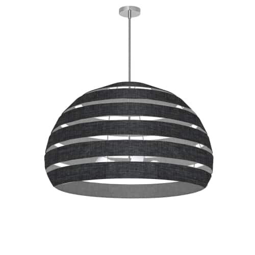 4 Light Polished Chrome Chandelier w/ Black/Clear Shade