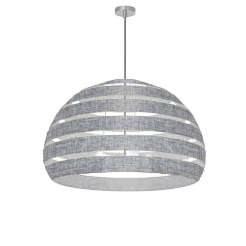 4 Light Polished Chrome Chandelier w/ Grey Shade