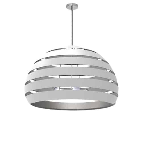 4 Light Polished Chrome Chandelier w/ White/Silver Shade