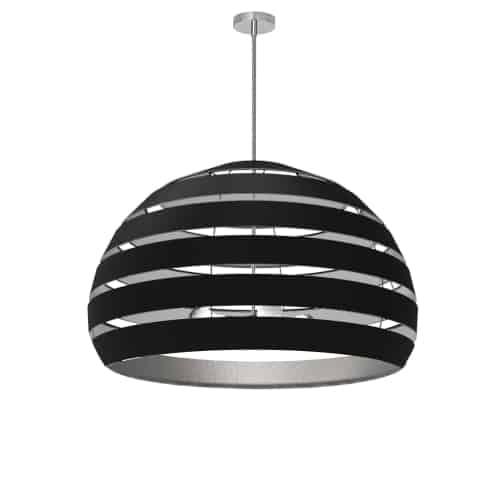 4 Light Polished Chrome Chandelier w/ Black/Silver Shade