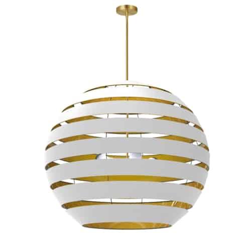 4 Light Aged Brass Chandelier w/ White/Gold Shade