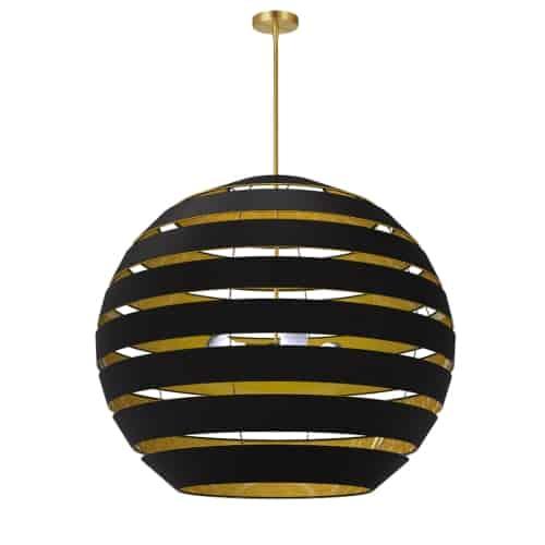 4 Light Aged Brass Chandelier w/ Black/Gold Shade