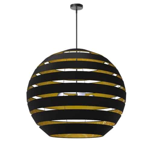 4 Light Matte Black Chandelier w/ Black/Gold Shade