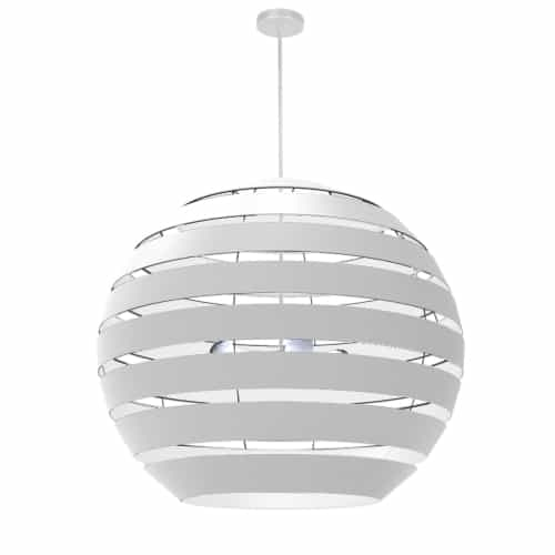 4 Light Matte White Chandelier with White Shade