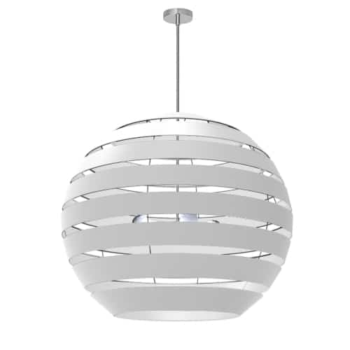 4 Light Polished Chrome Chandelier with White Shade