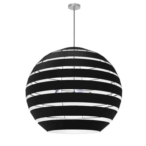 4 Light Polished Chrome Chandelier with Black Shade