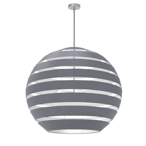 4 Light Polished Chrome Chandelier with Grey Shade