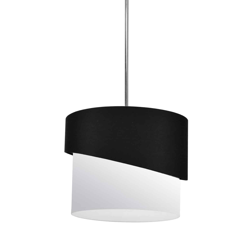 1 Light Jazlynn Pendant, Black on White Shade w/ 790 Diff