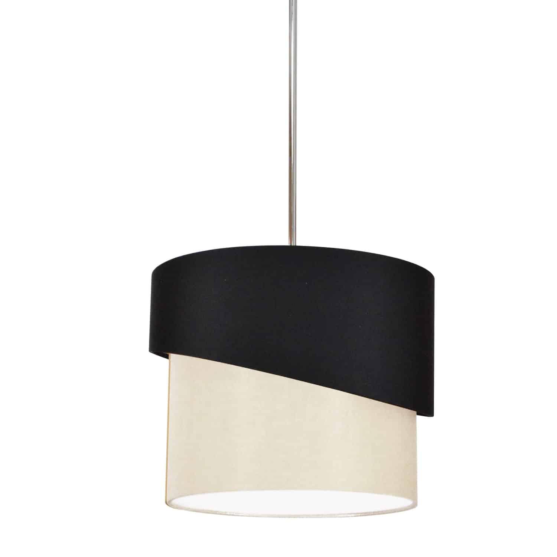 1 Light Jazlynn Pendant, Black on Cream Shade w/ 790 Diff