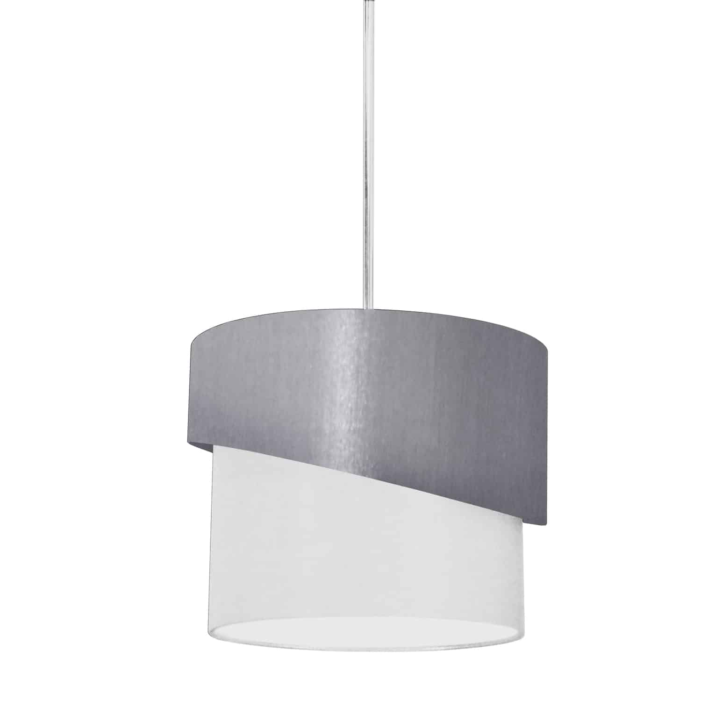 1 Light Jazlynn Pendant, Grey on White Shade w/ 790 Diff