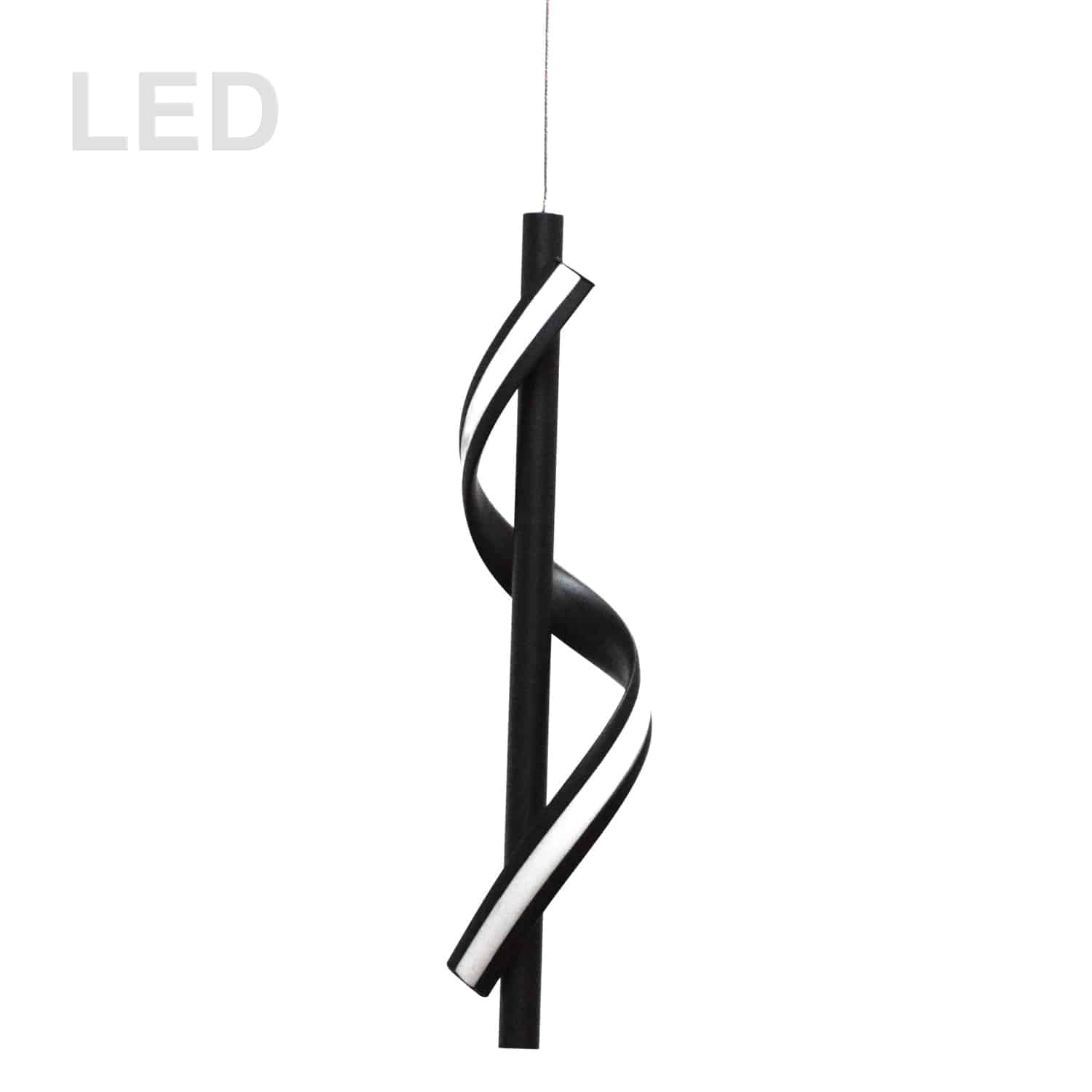 8W LED Pendant, Matte Black with White Silicone Diffuser