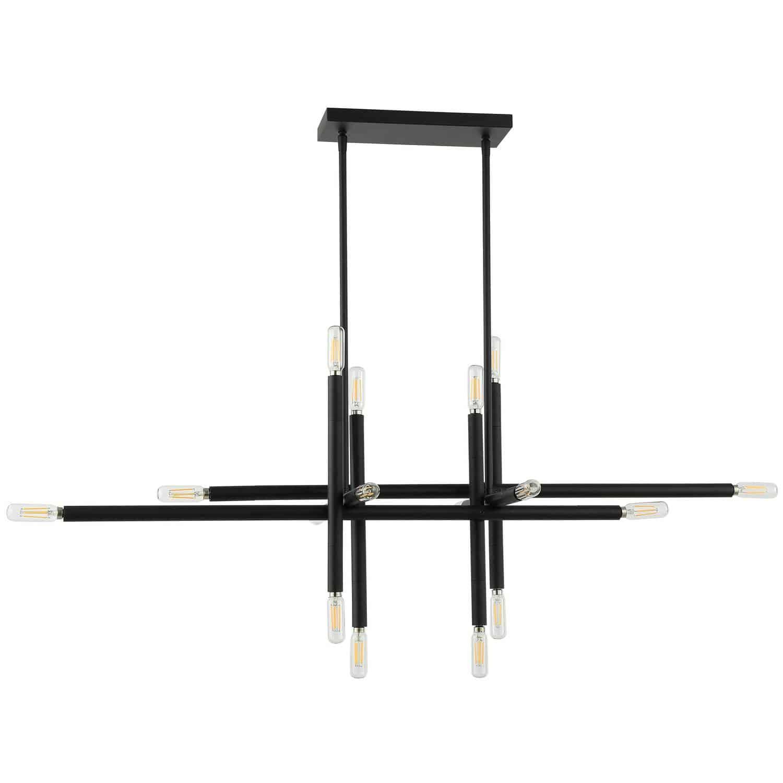 16 Light Incandescent Horizontal Pendant, Matte Black