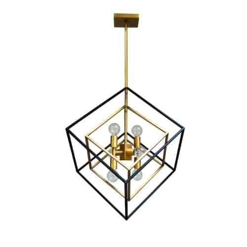 6 Light Pendant, Vintage Bronze / Matte Black Finish
