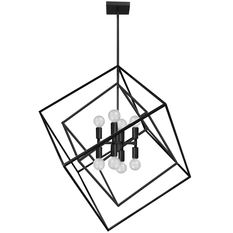 8 Light Incandescent Pendant Matte Black Finish