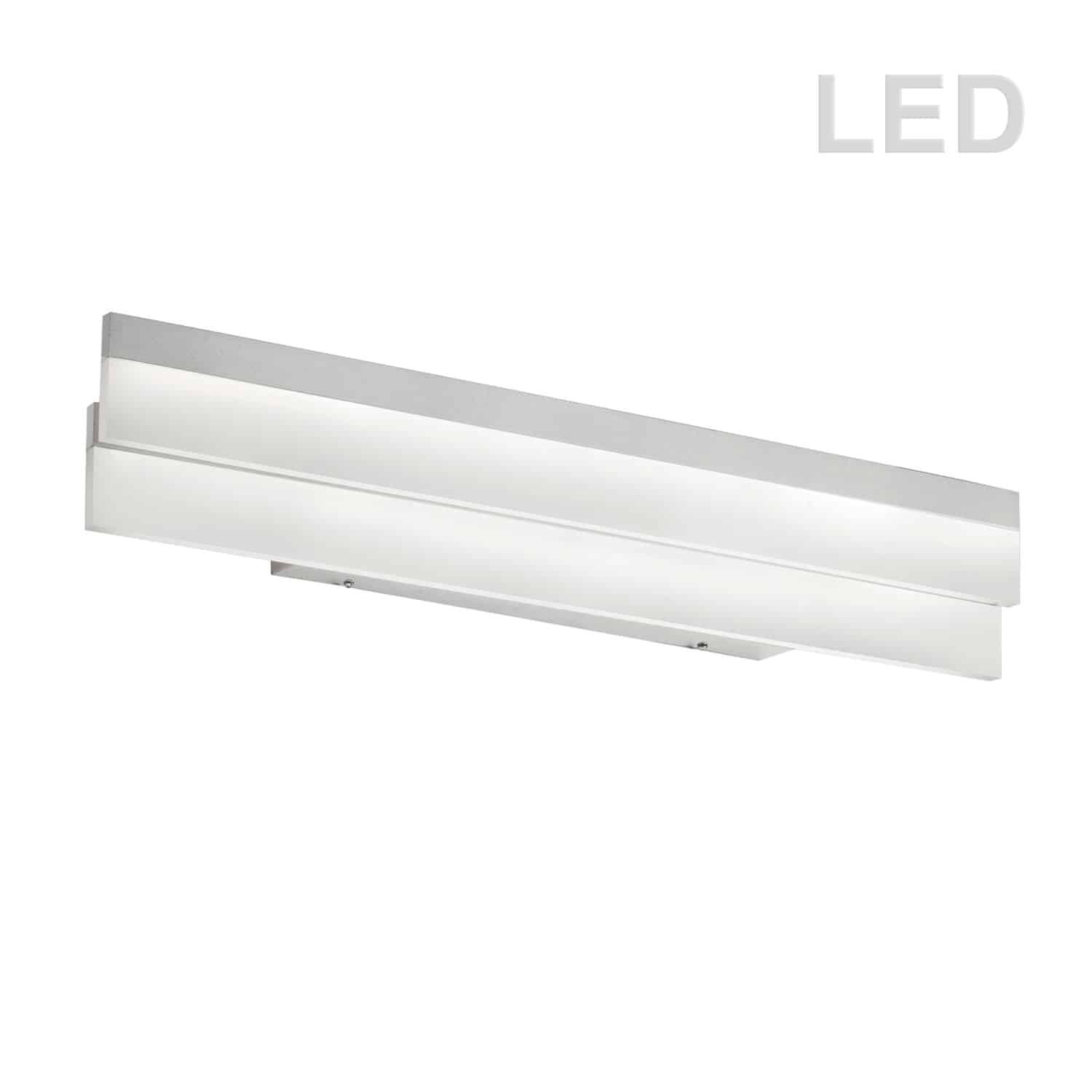 Flat LED Vanity Fixture, Silver/Polished Chrome, Frosted White Diffuser
