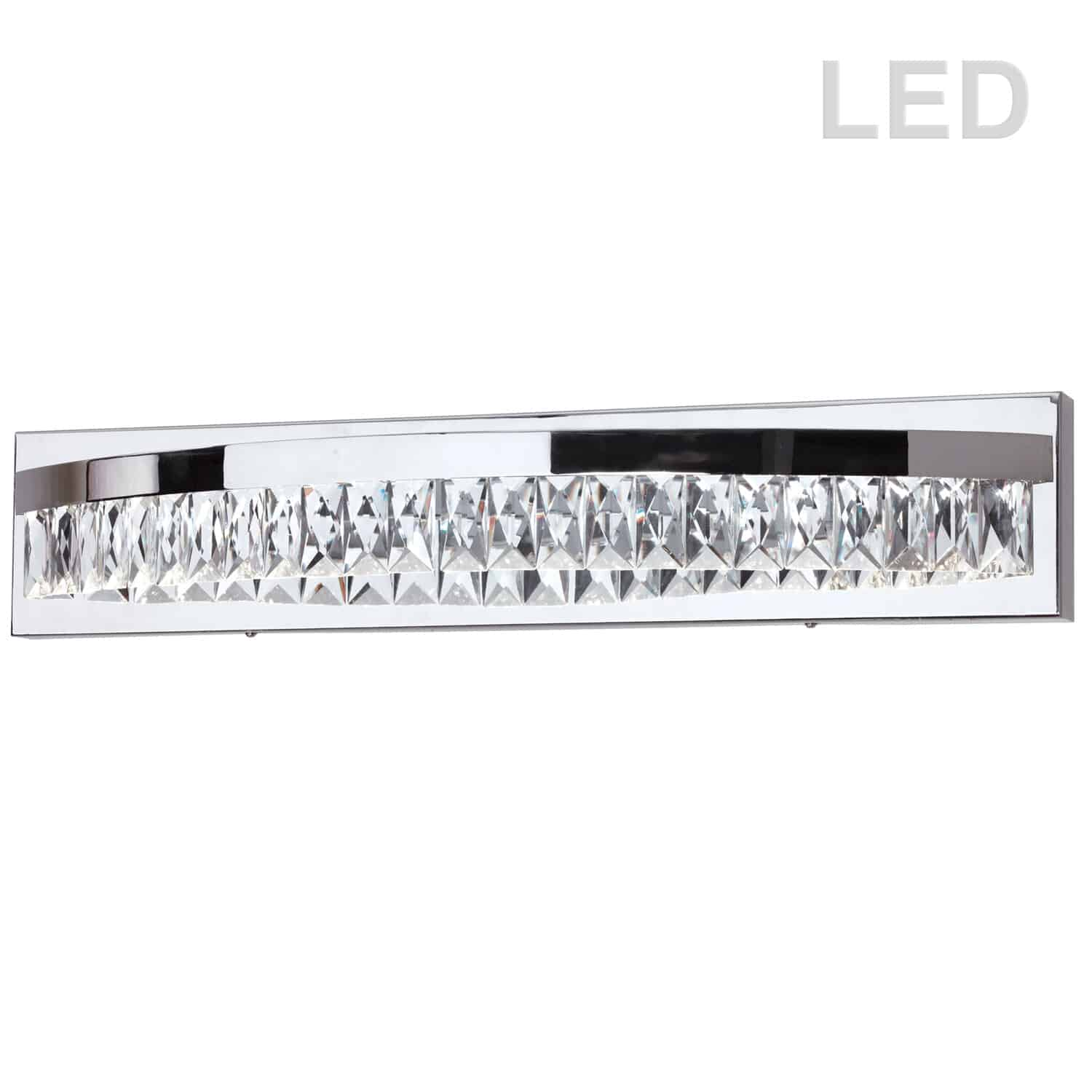21W LED Vanity, Polished Chrome Finish with Crystals hanging