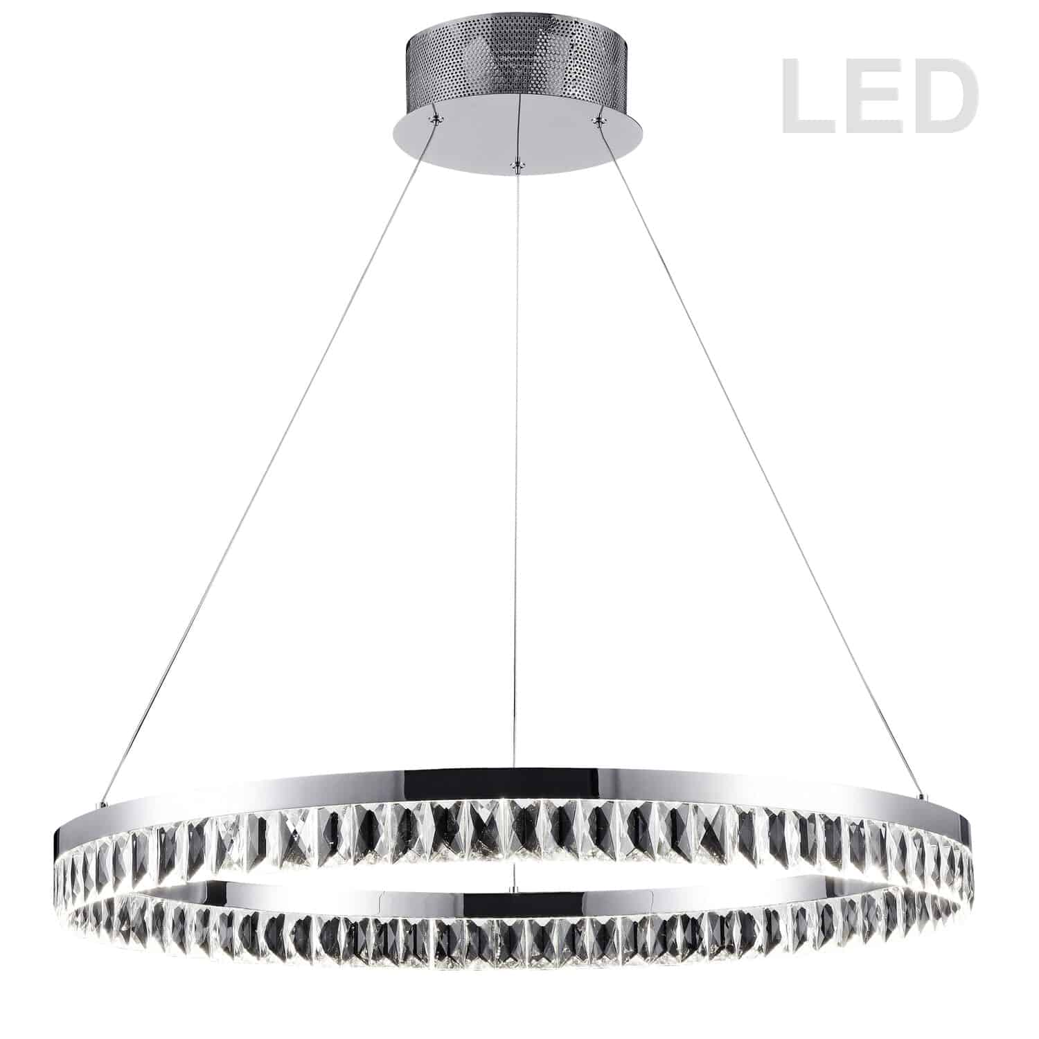 57W LED Round Chandelier, Polished Chrome Finish with Crystals hanging