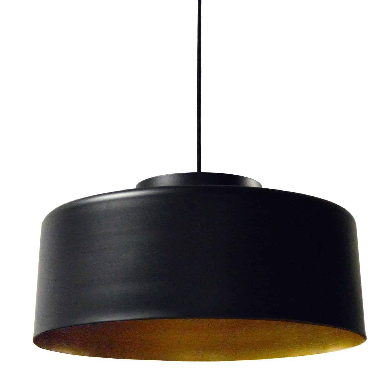 1 Light Metal Pendant, Black and Gold Finish