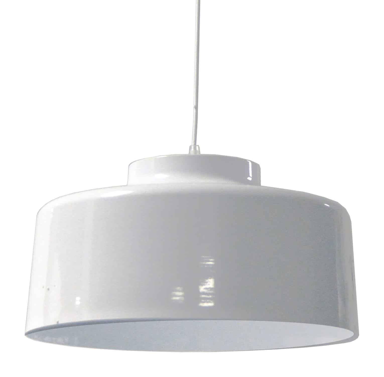 1 Light Metal Pendant, White Finish
