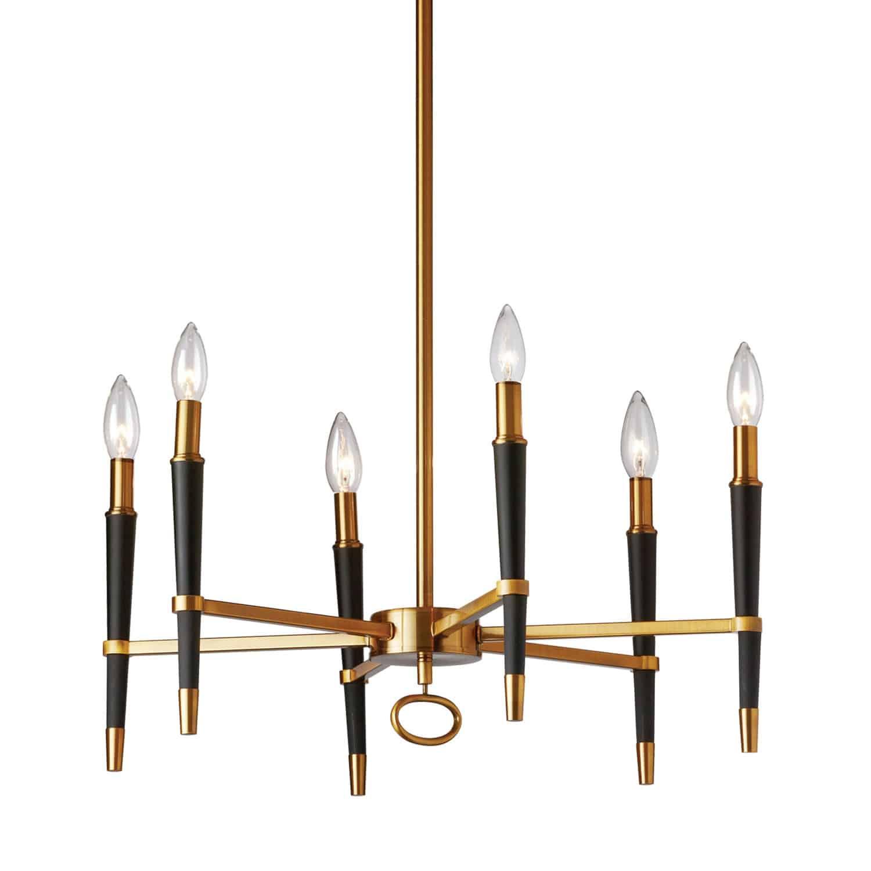 6 Light  Incandescent Chandelier, Vintage Bronze Finish