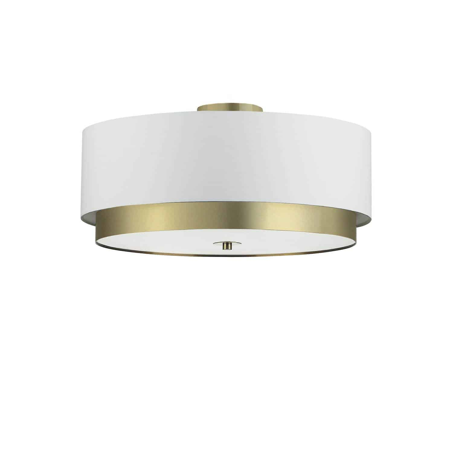 4 Light Flush Mount, Aged Brass with White Shade, Frosted Glass Diffuser