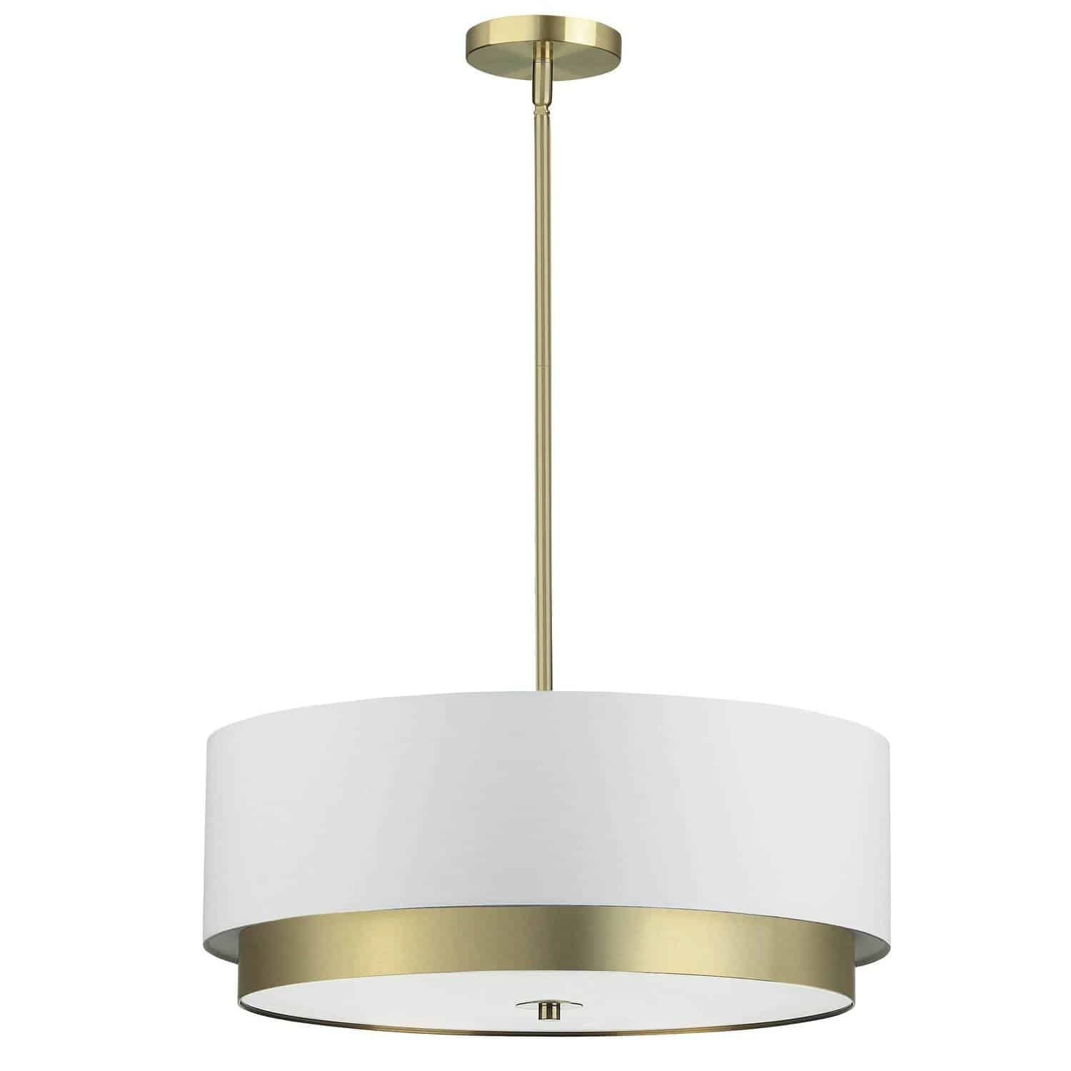 4 Light Large Pendant, Aged Brass with White Shade, Frosted Glass Diffuser