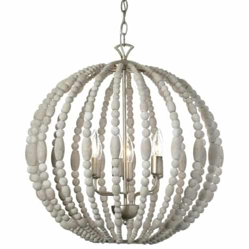 Modern luxury with a hint of yesteryear - that's the appeal of the Laura line of chandeliers and flush mounted lighting. Laura's design creates a bright, warm ambiance with light that reflects off a caged construction that combines white washed wood beads and gleaming palladium gold trim in a variety of rounded geometric shapes.  The sophisticated design adds textural appeal and will blend beautifully with both modern and traditional furnishings, adding a sumptuous note of elegance to dining rooms, living rooms and foyers.
