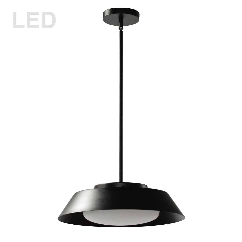 16W LED Pendant, Matte Black with White Glass