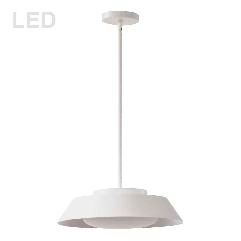 16W LED Pendant, Matte White with White Glass