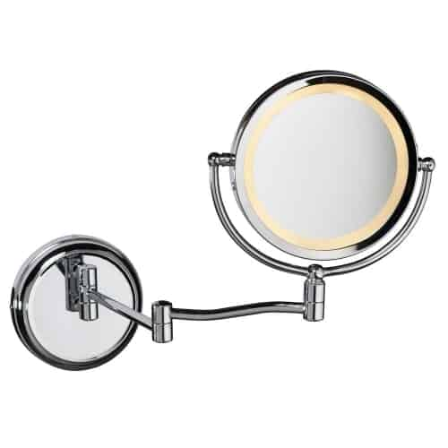 5x Swing Arm LED Lighted Magnifier Mirror, Polished Chrome