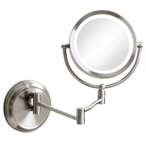 5x Swing Arm LED Lighted Magnifier Mirror, Satin Chrome