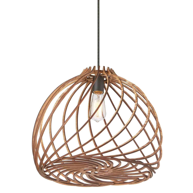 1 Light Incandescent Pendant, Wood Finish