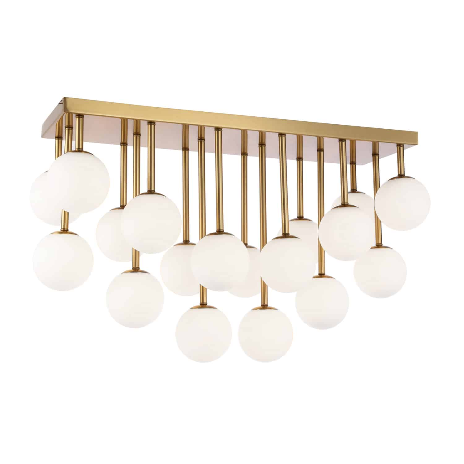18 Light Halogen Flush Mount Aged Brass Finish with White Glass