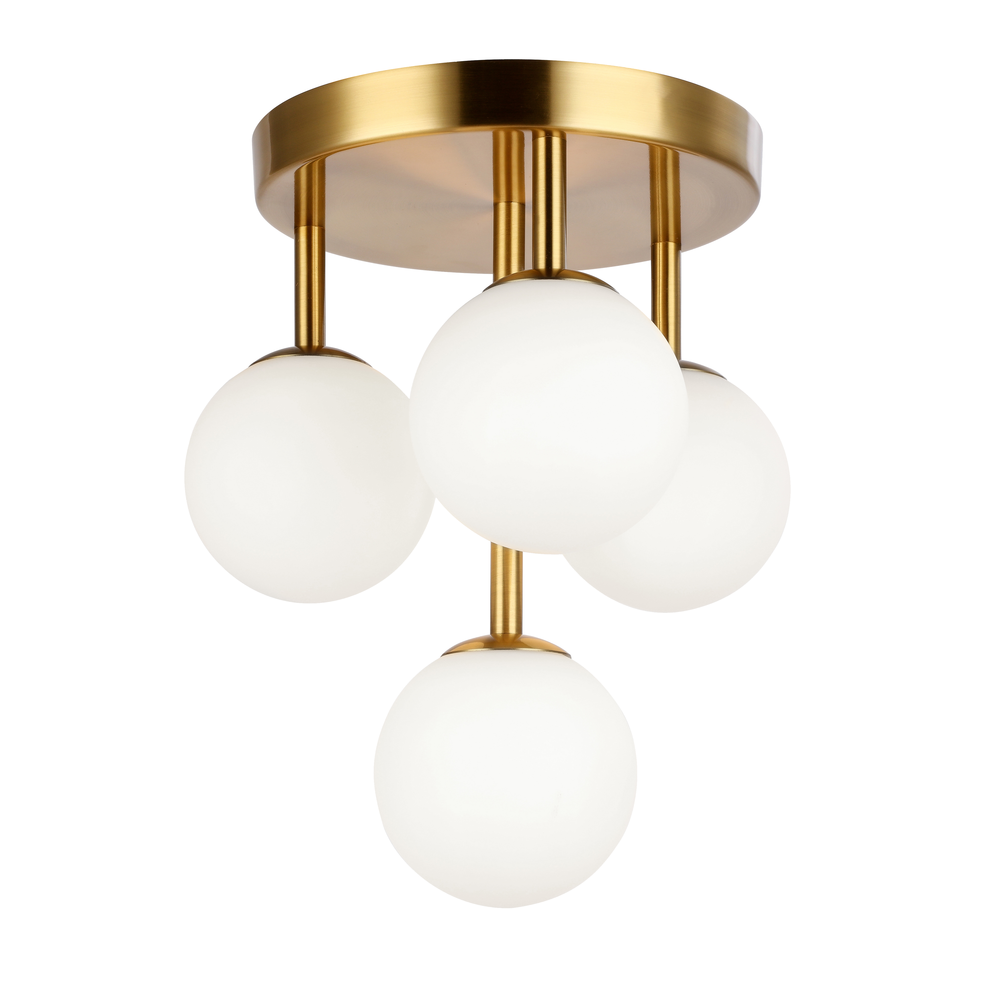 4 Light Halogen Flush Mount, Aged Brass w/Opal Glass
