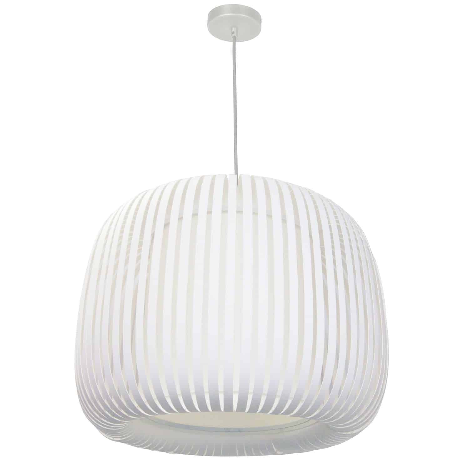 1 Light Pendant Slit Shade Linda White White