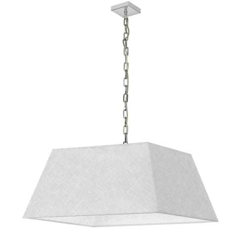 1 Light Large Polished Chrome Milano Pendant White/Clear Shade