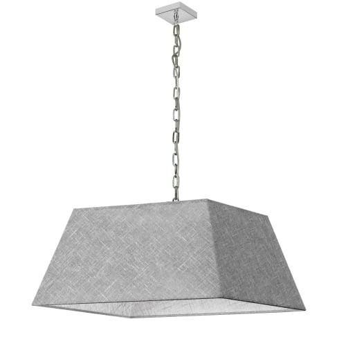 1 Light Large Polished Chrome Milano Pendant Grey/Clear Shade