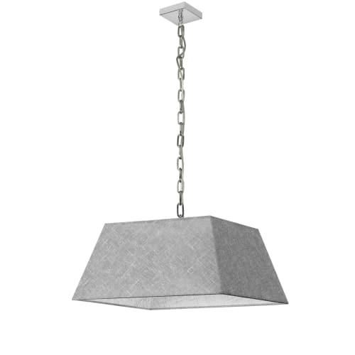 1 Light Medium Polished Chrome Milano Pendant Grey/Clear Shade