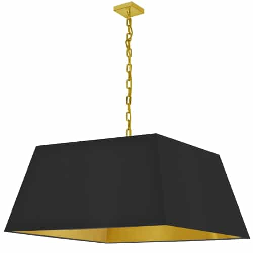 1 Light X-Large Aged Brass Milano Pendant Black/Gold Shade