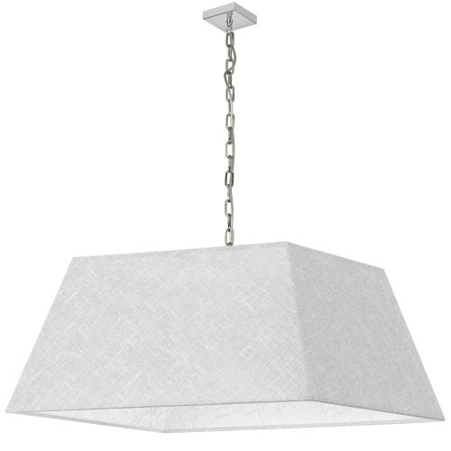 1 Light X-Large Polished Chrome Milano Pendant White/Clear Shade