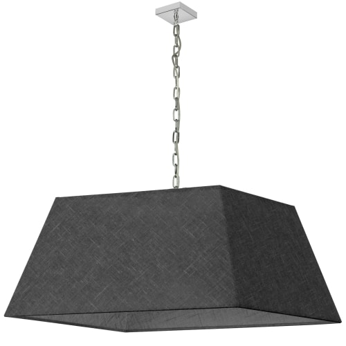 1 Light X-Large Polished Chrome Milano Pendant Black/Clear Shade