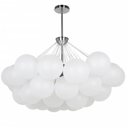 8 Light Polished Chrome Halogen Chandelier w/ Frosted Glass