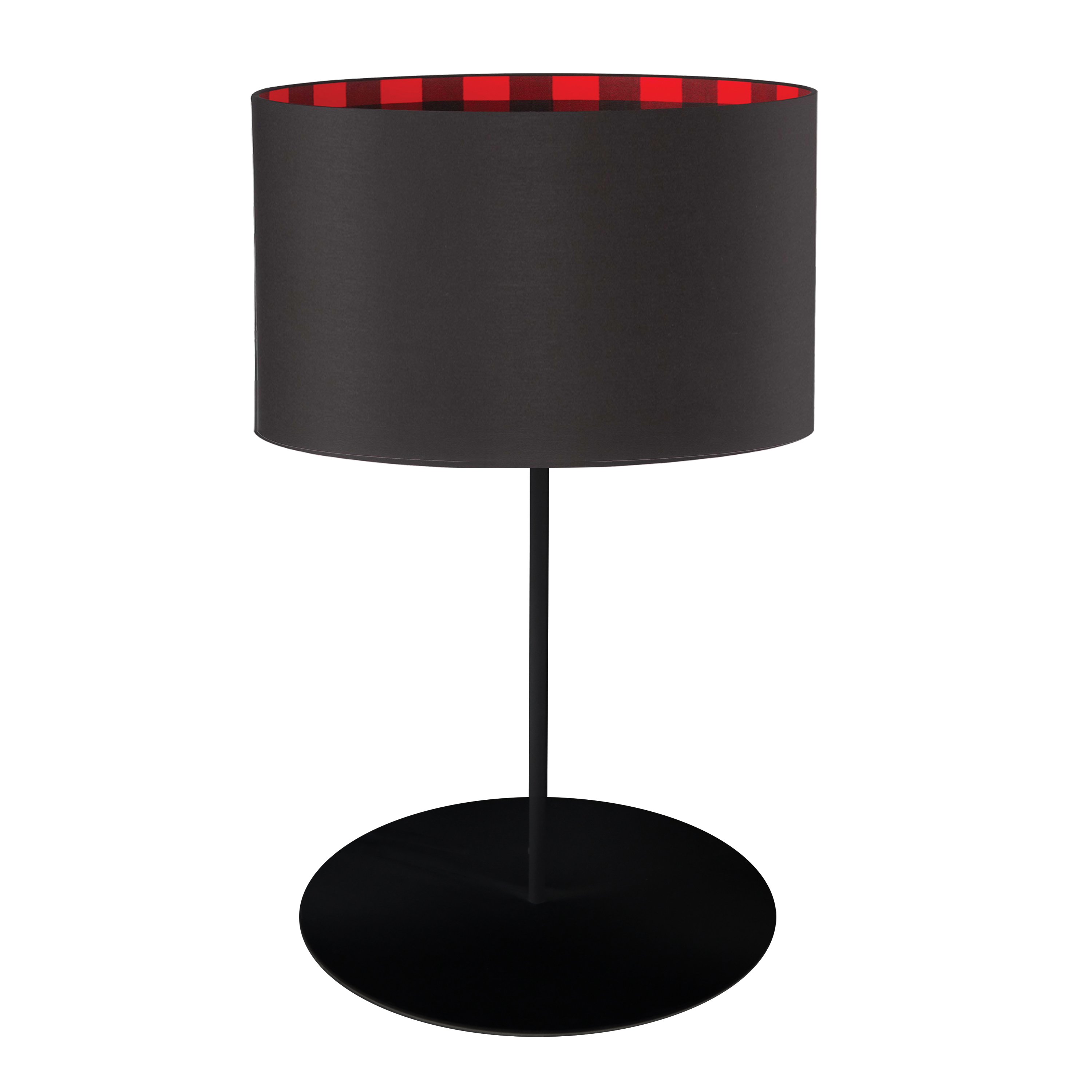 1LT Drum Table Lamp, BLK/PLD Shade, MB
