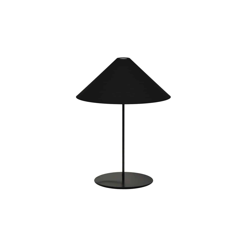 1LT Tapered Table Lamp, Black Shade, Black