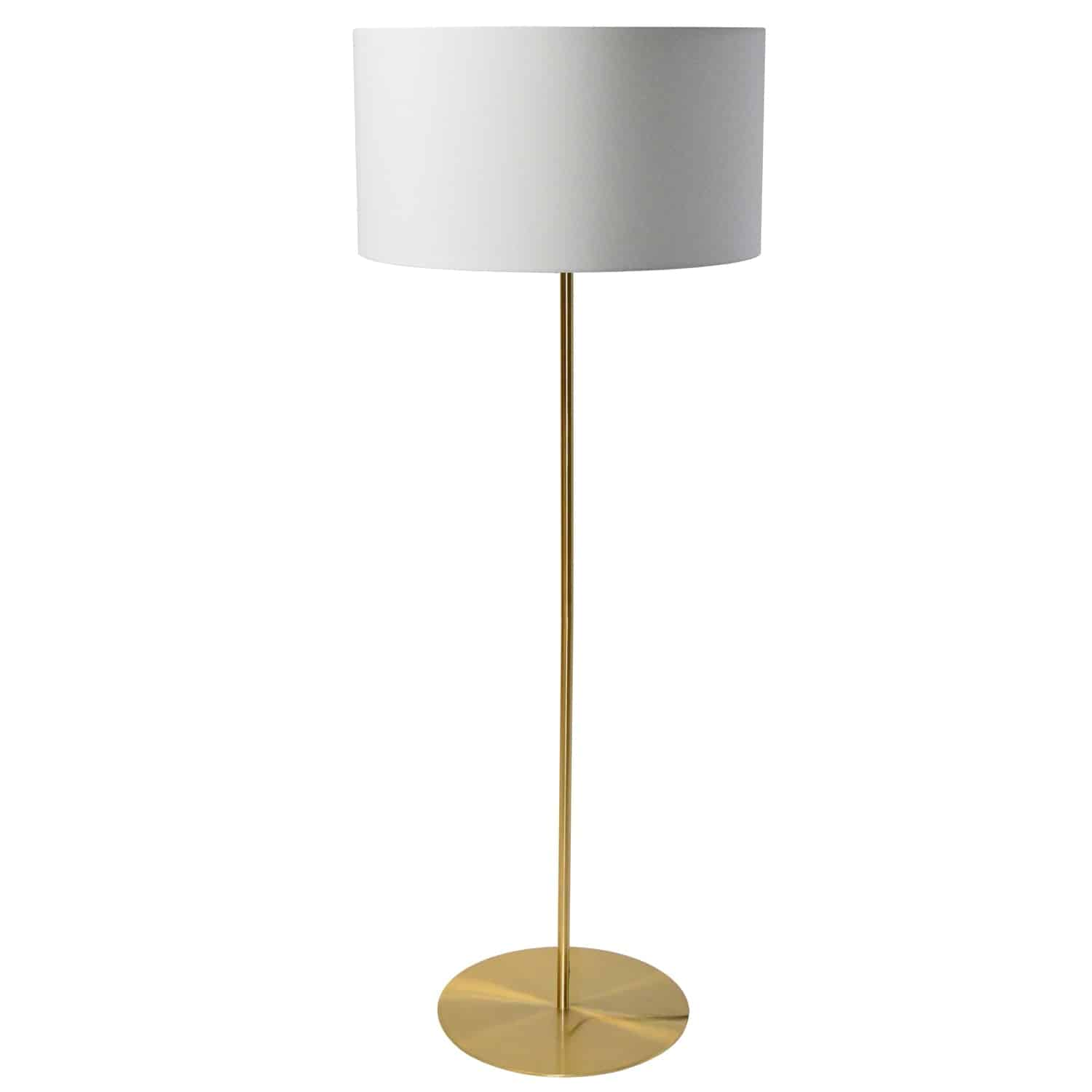 1 Light Drum Floor Lamp with White Shade Aged Brass