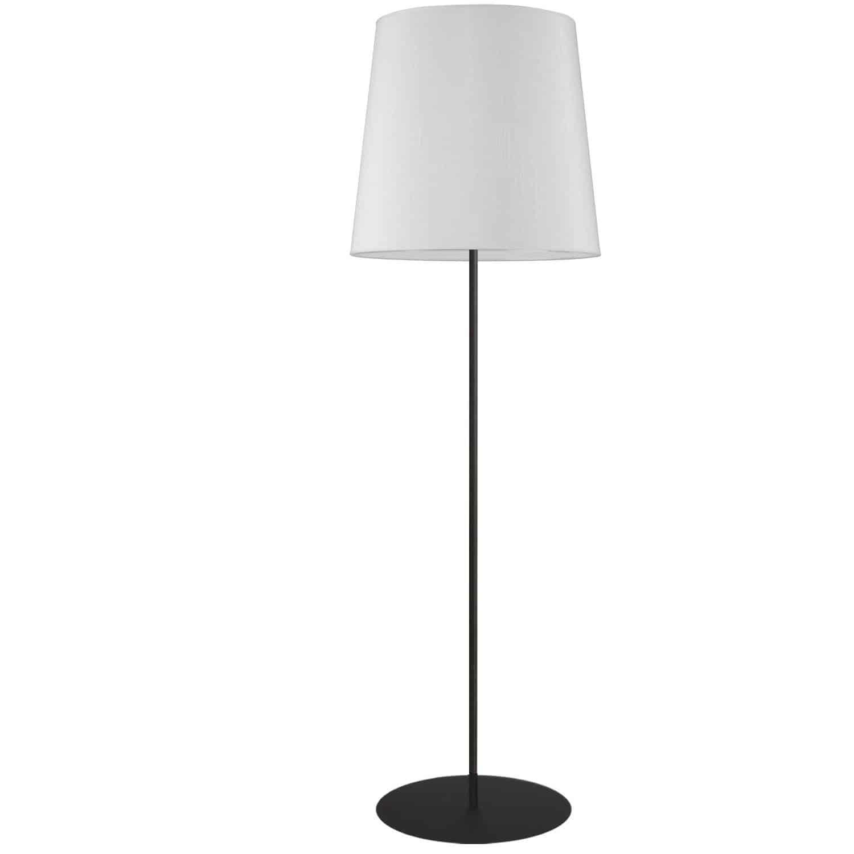 1 Light Black Floor Lamp w/ White Drum Shade