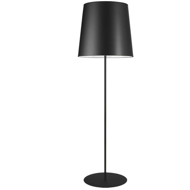 1 Light Black Floor Lamp w/ Black Drum Shade