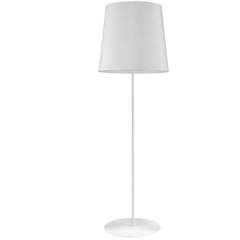 1 Light White Floor Lamp w/ White Drum Shade