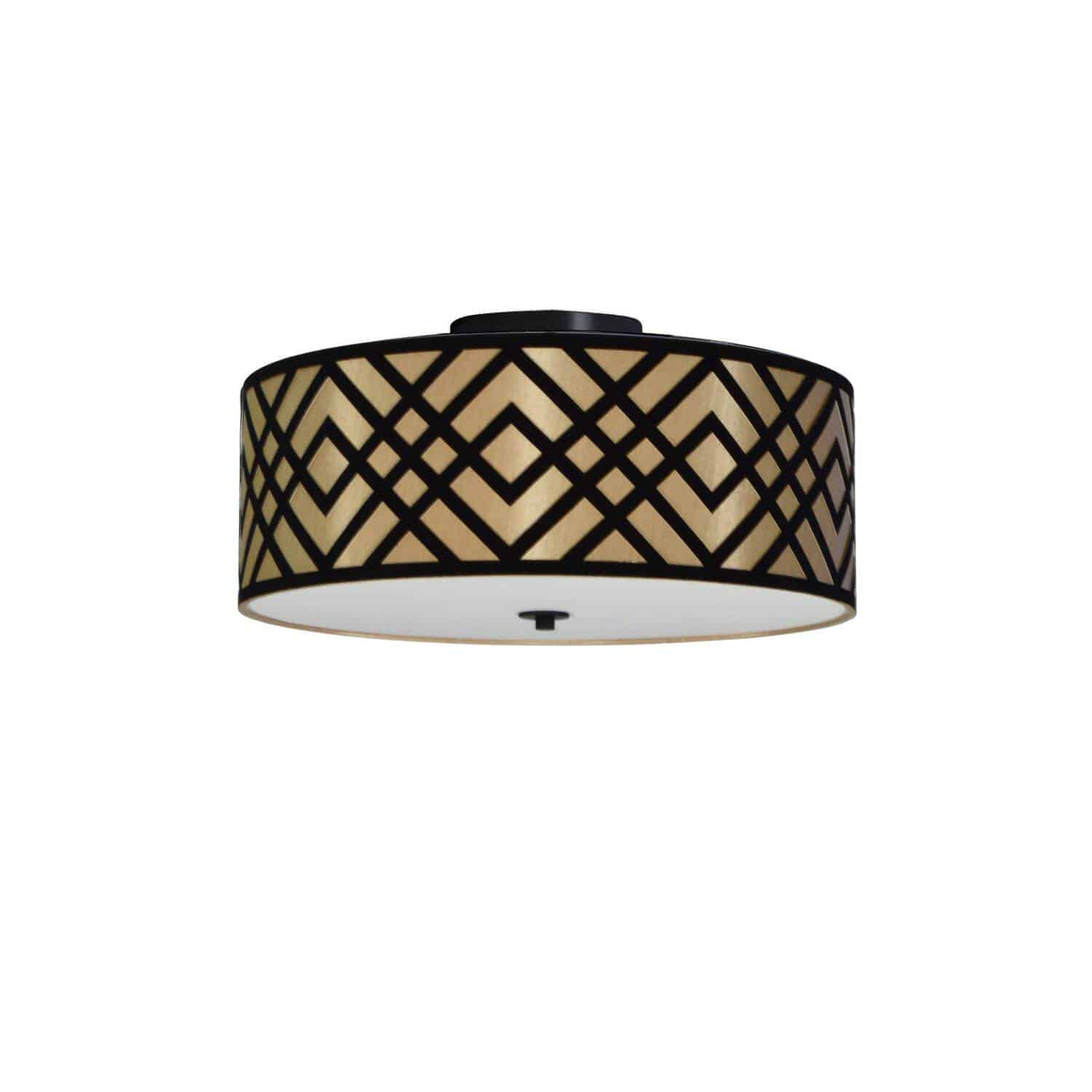 3 Light Flushmount, Polished Chrome Finish, Black/Gold Shade