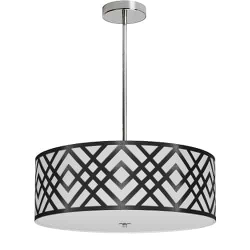 4 Light Pendant, Polished Chrome Finish, Black/White Shade